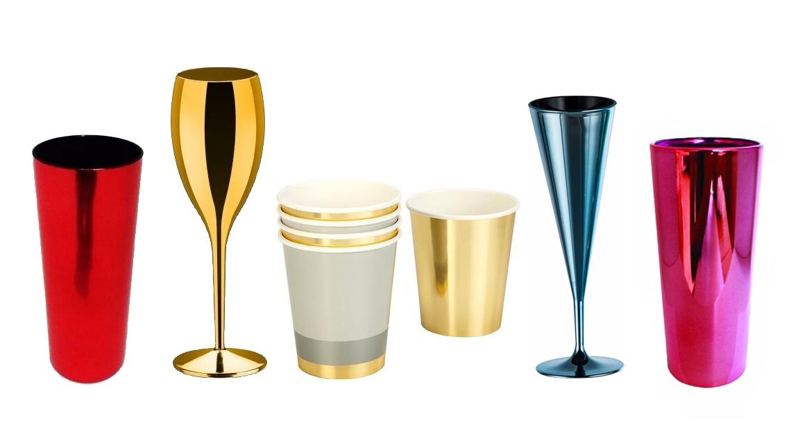 copos e tacas metalizados